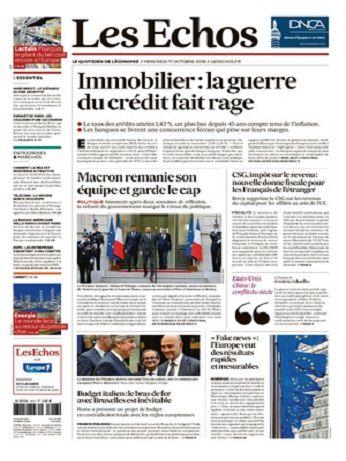 Les Echos Du Mercredi 17 Octobre 2018