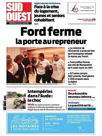 Sud Ouest (Bordeaux Rive Gauche) Du Mardi 16 Octobre 2018